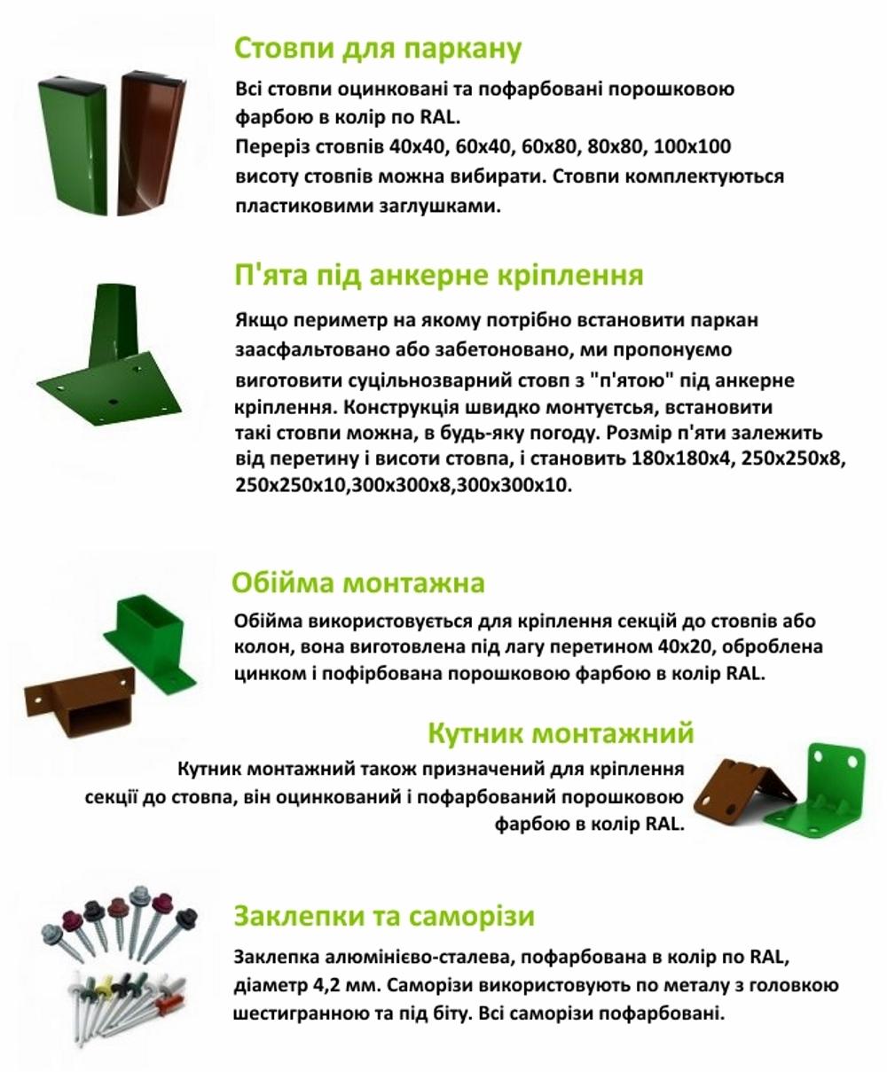 КОМПЛЕКТУЮЧІ для штахетної огорожі (євроштахети)
