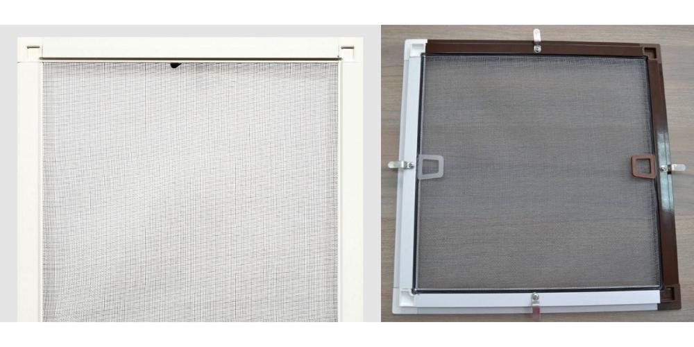 Москитні сітки коричневого та білого кольорів в стандартній системі