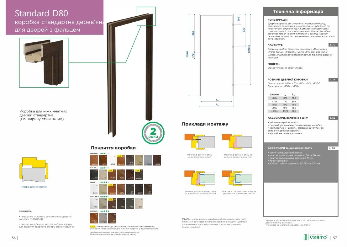 Коробка для міжкімнатних дверей Standard d80